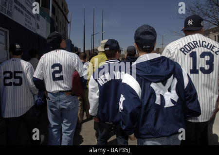Fans arrive for the home opener at the new Yankee Stadium in the New York borough of The Bronx