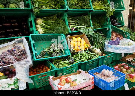 Vegetables in boxes outside vegetable shop in Valletta, Malta - Stock Photo