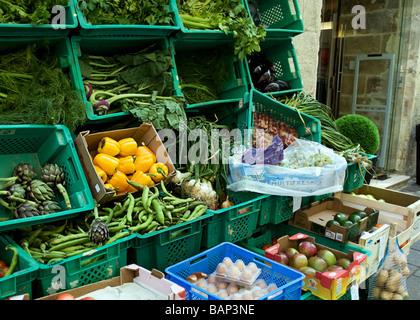 Greengrocers in a side street - Valletta, Malta. - Stock Photo