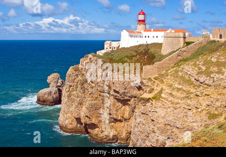 The Lighthouse at Cape St Vincent, Algarve, Portugal - Stock Photo