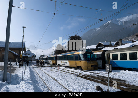 Golden Pass panoramic train in the station at Chateau d'Oex Switzerland, Europe - Stock Photo