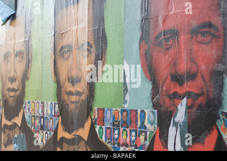 Abraham Obama by artist Ron English pasted onto a wall in Boston Massachusetts - Stock Photo