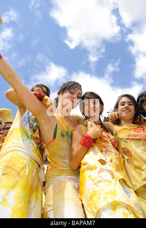 Chupinazo, opening ceremony celebration during Fiestas in Spain. - Stock Photo