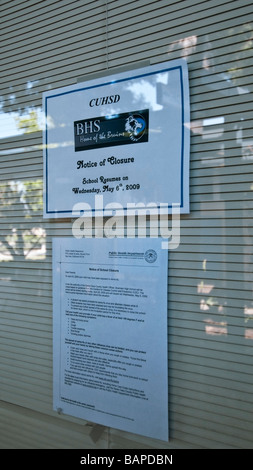 1,400 student Public High School in San Jose, CA. was closed after one student was believed to have the H1N1 virus - Stock Photo