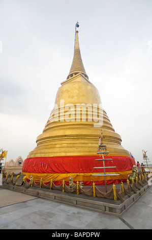 The Stupa at the top of the Golden Mount, Wat Saket. Bangkok, Thailand. - Stock Photo