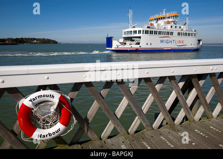 New Wight Link Ferry Pier lifebelt Yarmouth Isle of Wight England UK - Stock Photo