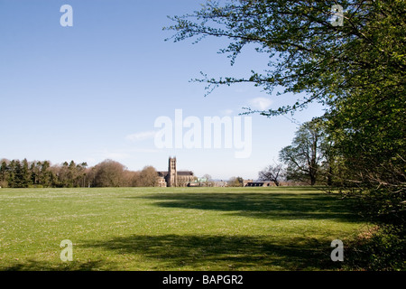 A distant view of Downside Abbey and school, Stratton-on-Fosse, Somerset, UK - Stock Photo