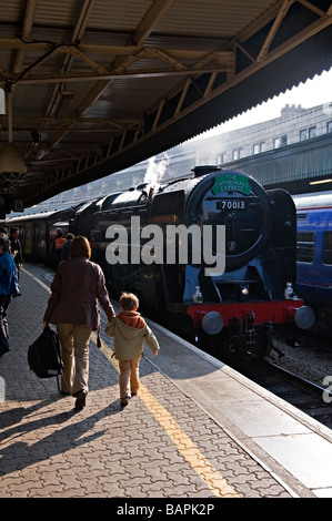 Steam Locomotive 70013 'Oliver Cromwell' at Bristol Temple Meads Railway Station. - Stock Photo