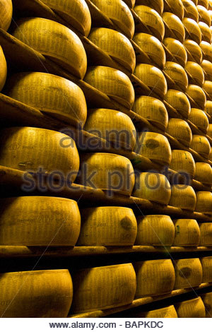 parmigiano reggiano  cooperativa casearia castelnovese  castelnuovo rangone  emilia romagna  italy - Stock Photo