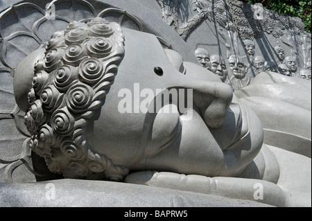 Reclining Buddha at the Long Son Temple, Nha Trang, Vietnam - Stock Photo