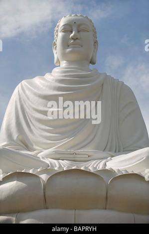 White Buddha at the Long Son Temple, Nha Trang, Vietnam - Stock Photo