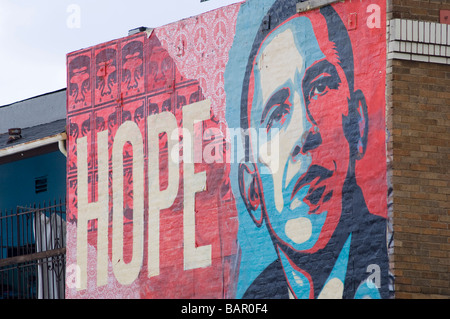 Hope mural for barack obama us presidential campaign by american artist shepard fairey on hollywood boulevard california - Stock Photo