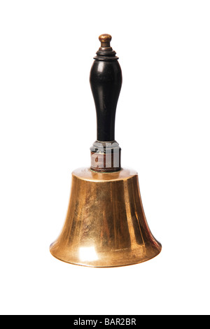 Old Brass school bell ringer - Stock Photo