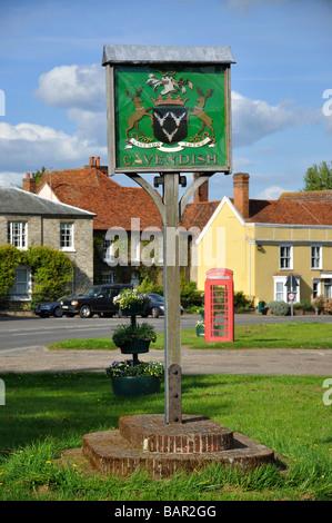 Village sign, The Green, Cavendish, Suffolk, England, United Kingdom - Stock Photo