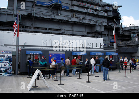 entrance to the uss midway aircraft carrier museum embarcadero san diego california usa - Stock Photo