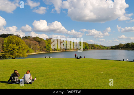 People relaxing on lawn of Roundhay Park Leeds West Yorkshire England with Waterloo Lake in background - Stock Photo