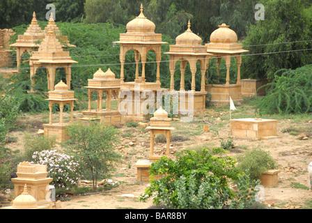 Small temples at Gadi Sagar Jaisalmer Rajasthan India - Stock Photo