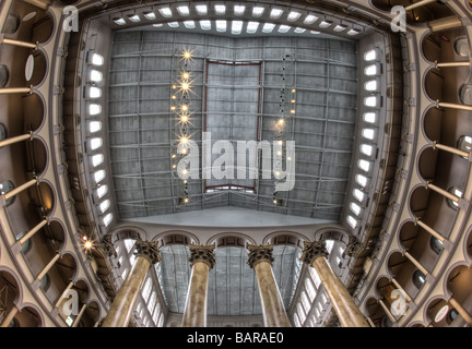 This is an HDR image of the ceiling of the National Building Museum in Washington, DC, a museum of architecture - Stock Photo