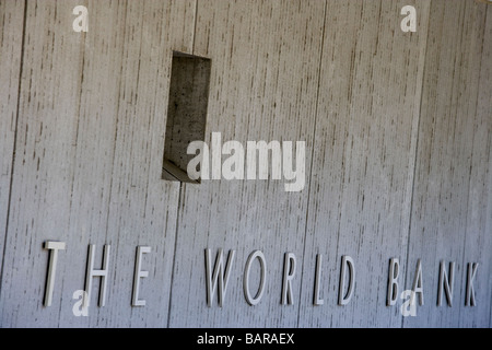 The World Bank logo sign outside H building WorldBank World Bank Group headquarters main office building exterior - Stock Photo