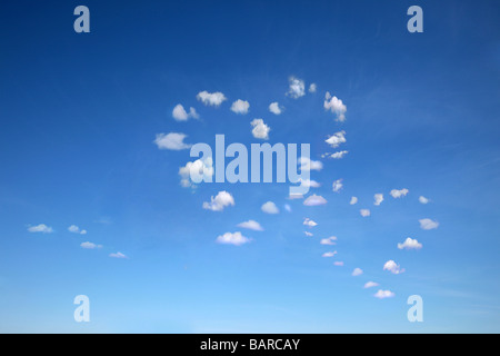 two heart shaped clouds on blue sky for multiple uses - Stock Photo