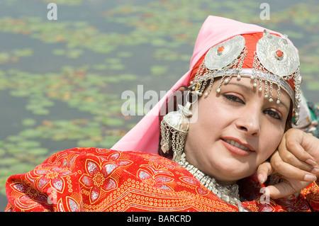 Portrait of a woman, Dal Lake, Srinagar, Jammu And Kashmir, India - Stock Photo