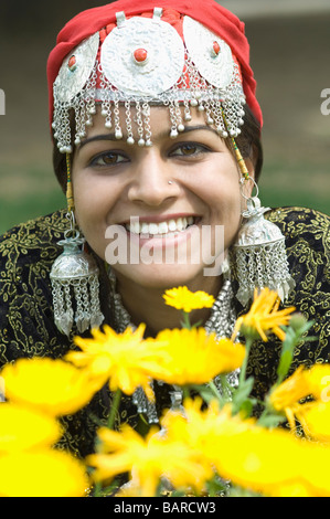 Portrait of a woman smiling, Jammu And Kashmir, India - Stock Photo