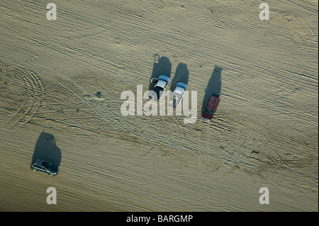 aerial view above cars parked driving Pismo beach near Oceano Santa Maria county central California - Stock Photo