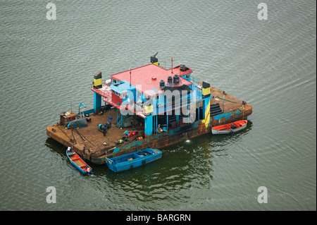 aerial view above Mexican fishing house boat state of Tamaulipas - Stock Photo