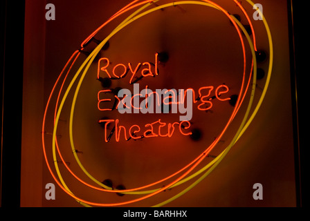Royal Exchange Theatre neon sign at entrance - Stock Photo