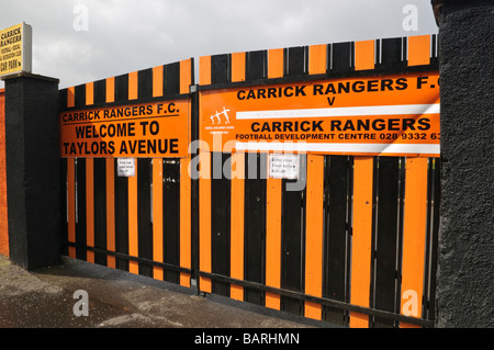 Front gates to Taylor's Avenue, home ground of Carrick Rangers football (soccer) team. - Stock Photo