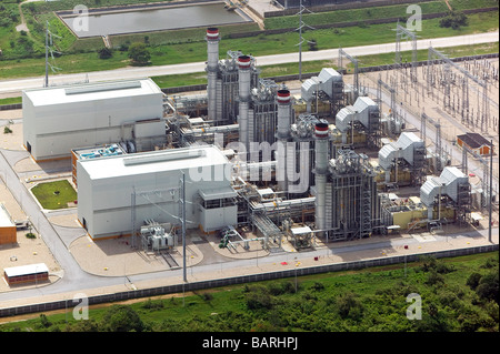 aerial view above Mexican electrical power generation plant northeastern Mexico - Stock Photo