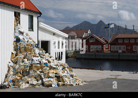 Heap of newspapers in Svolvær, Austvågøy, Lofoten, Nordland, Norway, Scandinavia, Europe - Stock Photo
