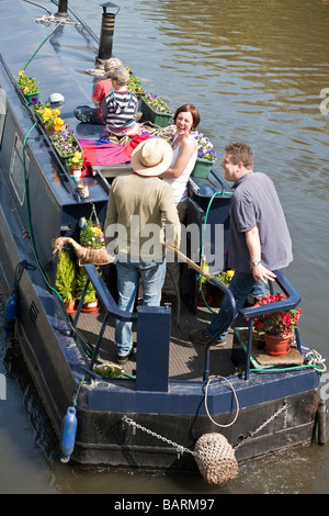 Family on canal boat. Little Venice, London, England, UK - Stock Photo