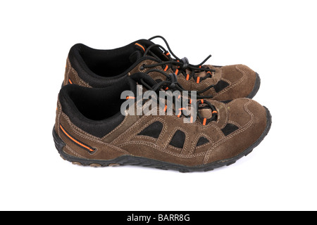 Brown suede sneakers or running shoes or Trainers - Stock Photo