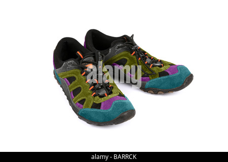 Multi coloured sneakers or running shoes or Trainers - Stock Photo