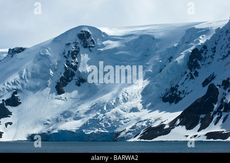 Admiralty Bay surrounded by Mountains and Glaciers. King George Island, South Shetland Islands, Antarctica. - Stock Photo