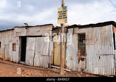Galvanized Zinc dwellings in a Township Swellendam South Africa - Stock Photo