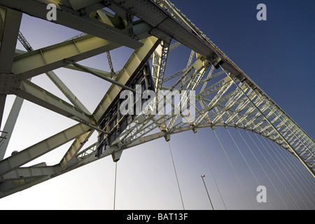 The Silver Jubilee Bridge over the River Mersey and Manchester Ship Canal at Runcorn Gap, Cheshire, UK - Stock Photo