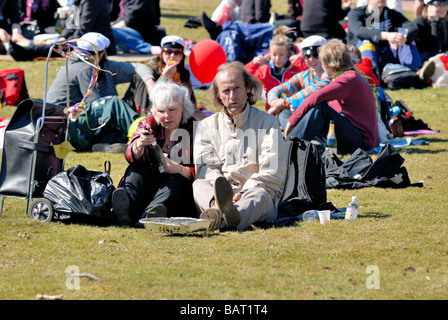 The May Day picnic in the Kaivopuisto park, Helsinki. 'Everything I have tried and he is still so Finnish!', Helsinki, - Stock Photo