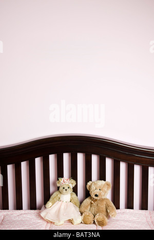 baby crib with teddy bears - Stock Photo