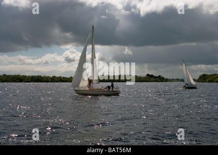 2 Sail Boats on Lough Ree (Lake Ree), Shannon River, Ireland, Europe - Stock Photo