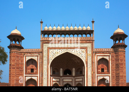 Entrance to Sikandra Tomb of Akbar Mughal emperor at Agra India - Stock Photo