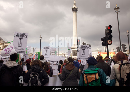Protesters at the G20 climate emergency march in London Trafalgar Square 2008 - Stock Photo