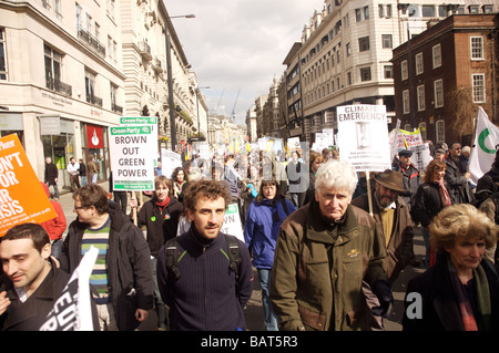 Protesters at the G20 climate emergency March in London 2008 - Stock Photo