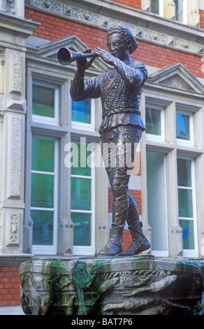 Statue of Pied Piper of Hamelin in the Weser Hills in Germany - Stock Photo