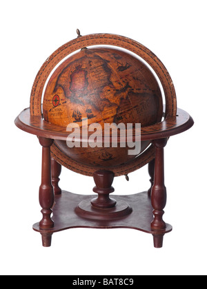 Vintage old earth globe showing America - Stock Photo