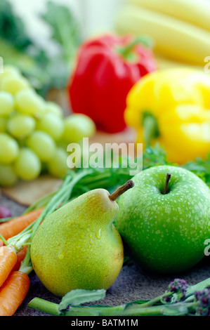 Fruits and vegetables. These are an essential part of a healthy diet, being a good source of vitamins, minerals - Stock Photo