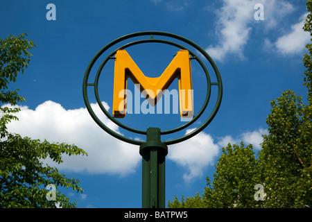 Modern Metro sign in Paris, France - Stock Photo