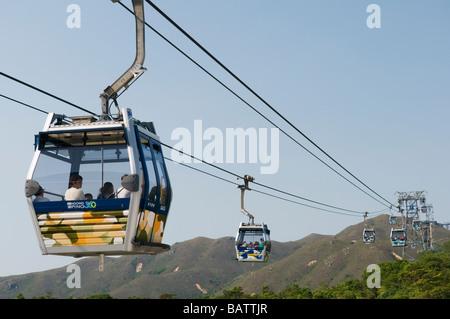 Ngong Ping 360 cable car between Tung Chung and Ngong Ping, Lantau Island, Hong Kong - Stock Photo
