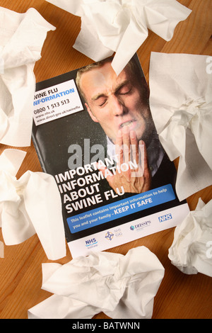 Swine Flu H1N1 information book leaflet booklet published by the UK British Government and NHS health service with - Stock Photo